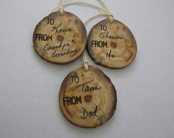 Twelve rustic gift tags