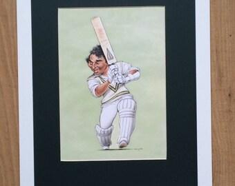 Mounted and Framed Sunil Gavaskar Drawing by John Ireland - 30cms x 40cms - Comical Cricket Art