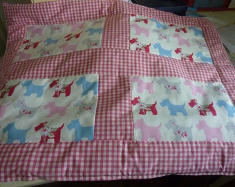 Gorgeous pink and blue scottie dog quilt