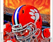 """NATIONAL CHAMPIONSHIP bound! Set of FOUR Clemson Tigers Football Art Prints (8.5""""x11"""") Signed by Jeff McJunkin"""