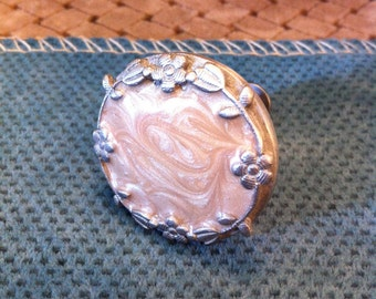 Swirls of Peach in Enamel on Pewter Knob for Drawers, Includes Brass Screw