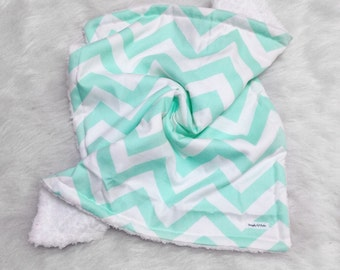 Mint chevron, soft fluffy lovey, white  soft baby security blanket