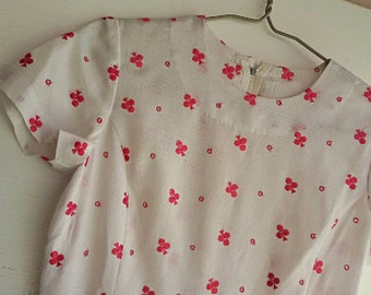 50s Day Dress with Club Embroidery - S
