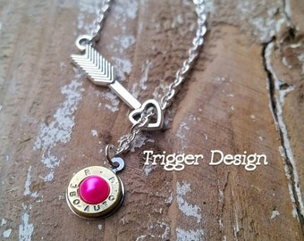 380 Caliber Bullet Necklace with Arrow Heart - Hot Pink Pearl