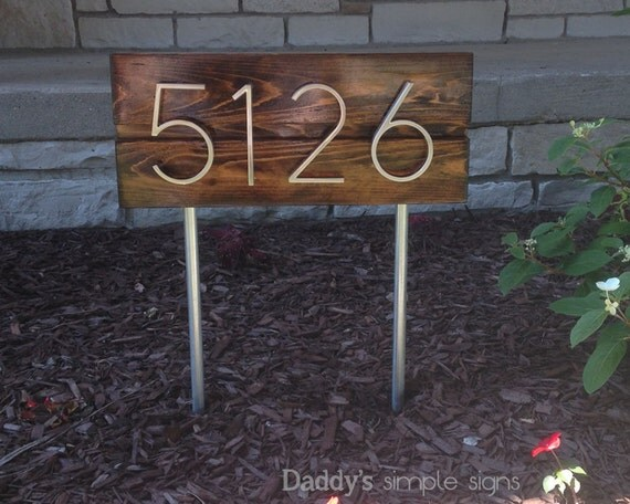 Items similar to mid century modern address sign w - House number signs for yard ...