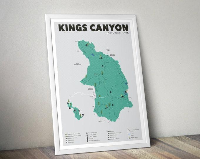 Kings Canyon National Park Map, Kings Canyon, Outdoors print, Explorer Wall Print