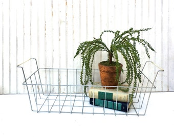 Vintage Long Wire Basket with Handles, Industrial Farmhouse , Refrigerator Basket, Industrial Metal Wire Basket With Handles