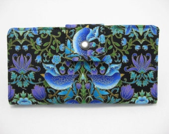 Blue Womens Wallet, Clutch Wallet , Blue Birds with Purple and Black