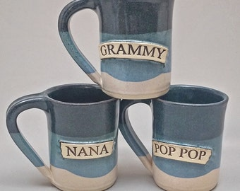 Personalized Mug Blue and White Glaze Stoneware Pottery with Grandparent Name or Nickname on Front by Stegall's Pottery