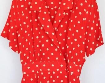 Cadaz Vintage Red & White Polka Dot Dress