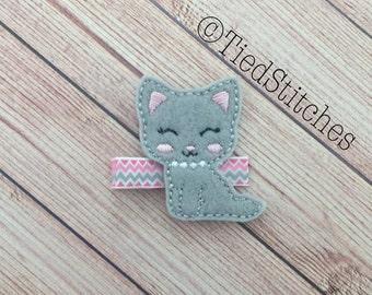 Cat hair clip - Kitty hair clip - Kitten hair clip - Kitty cat hair clip - Feltie hair clip - Felt hair clip