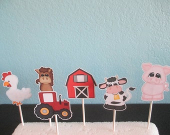 Farm Animals,Cupcake Toppers,Pig Toppers(12)Animals Toppers,Zoo Toppers, Animals Toppers,Farm baby shower,Farm 1st birthday,Barn cupcake