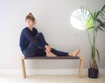 Oak bench, simple Scandinavian design, upholstered in a timeless grey cotton