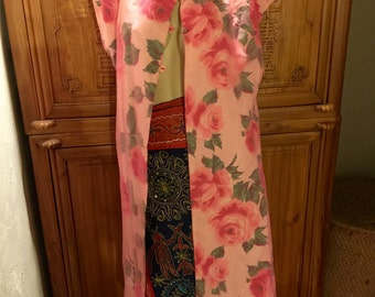 Floral Pink 50s 60s Cottage Chic Buttoned Sleeved Scarf Overlay Dress Coverlet Vest