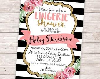 Lingerie Shower Invitation - Bachelorette Party Invitation - Floral Lingerie Bridal Shower Invite