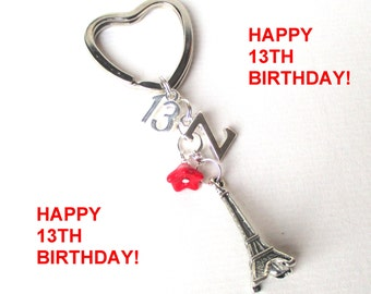 Personalised 13th birthday Keyring - Eiffel Tower keychain - 13th gift - 13th keychain - Eiffel Tower keyring - Birthday gift for her