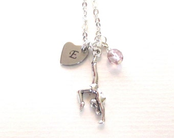 Mother's Day gift - Gymnast necklace -  Mum gift - Gymnast jewellery - Initial necklace - June birthstone necklace - Charm necklace - UK