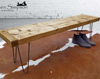 Rustic Bench Industrial Metal Hairpin Legs Chunky Wooden Handmade Garden/Kitchen/Dining room Bespoke Bench