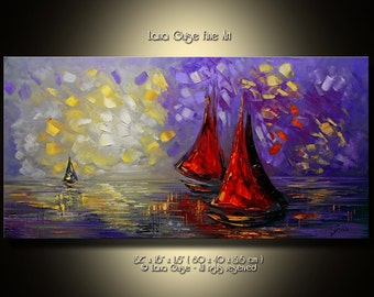 Summer Nights Sailboats Oil Painting Original Contemporary Seascape Modern Palette Knife Painting by Lana Guise
