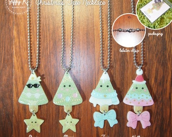 SALE* Hand drawn shrink plastic jewelry - CHRISTMAS TREE Necklace (4 different designs) {Ready to Dispatch}