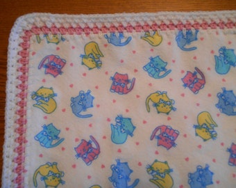 Sale Item:  Flannel Baby Blanket with Kitties Print & Crocheted Edges