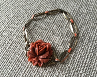 Art Deco Gold Washed Sterling Coral Rose bracelet