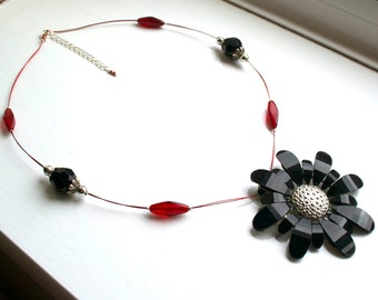 Large Red and Black Flower Necklace