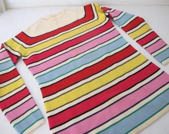 Mad Men Sweater 1960 Sweater Rainbow Sweater Ski Sweater Striped Ski Sweater