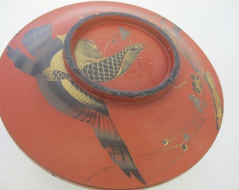 Antique Red Lacquer Bowl Covered Bowl Japanese Bowl Eagle Hawk