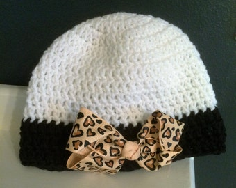 Sassy Beanie with Leopard Print Bow