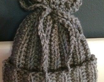 Crochet Gray Treasure Bag Beanie