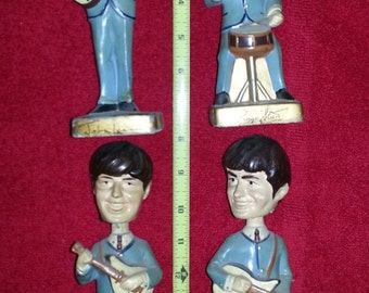 BEATLES BOBBLE HEADS statues retro vintage rock and roll