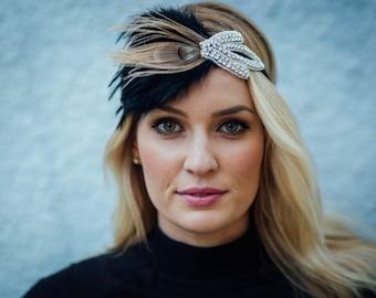 Great gatsby rhinestone headband  Roaring 20s Crysyal Headband, Downtown Abbey, 1920s headband, Beaded Headband Great Gatsby Headband