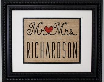 Personalized Burlap Wedding Print, Burlap Wall Art, Burlap Sign, Wedding Gift, Mr. & Mrs.