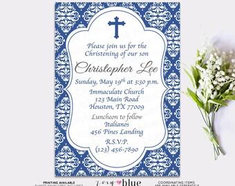 Baby Boy Baptism Invitation Blue Damask First Communion Christening Invite Confirmation Invitation- First Communion - Digital File
