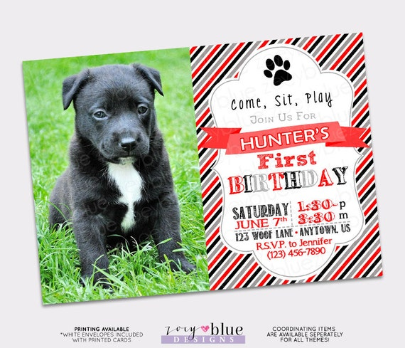 Puppy first birthday invitation with picture dog invite 1st il570xn filmwisefo
