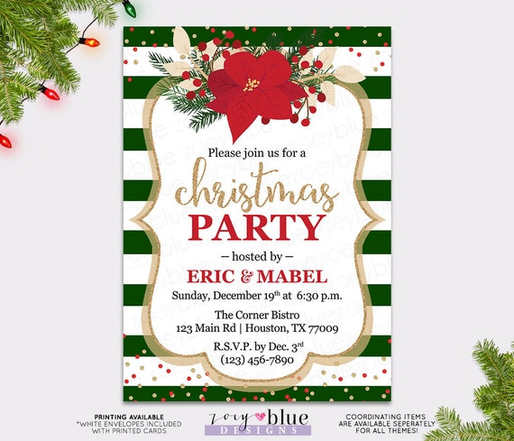 Work Christmas Party Invites: Poinsettia Red Gold Holiday