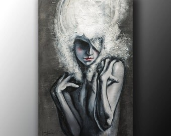 Art Portrait Painting Abstract Woman Baroque large Contemporary Original Acrylic people coloured Wall art textured by Anna Bulka