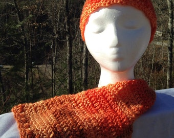 Flowing orange hat and scarf, crochet