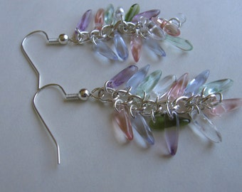 Silver and pastel glass dagger cluster dangles