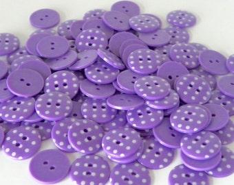 10 x 18mm Purple Polka Dot Buttons
