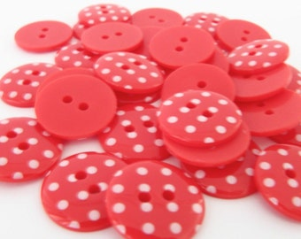 10 x 18mm Red Polka Dot Buttons