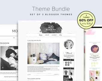 60% OFF Theme Bundle - Set of 3 Watercolor Blogger Templates - Blogger Theme Bundle