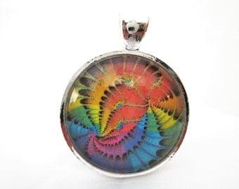 Fractal mandala necklace, rainbow fractal pendant, glass cabochon pendant with necklace or choker 1 inch 25 mm, yoga pendant, yoga jewelry