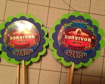Survivor Kaoh Rong party cupcake toppers Birthday Baby Shower Retirement