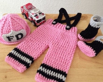 Baby Crocheted fire fighter out fit