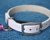 Monty Selection White Leather Cat Collar