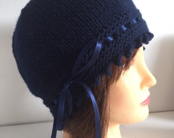 Blue Beanie Hat, 1920s Hat, Navy Knitted Hat, Womens Hats, Gatsby Wool Hat, Vintage Style Hat, Fancy Hat, Ribbon Hat,  Gift Hat,