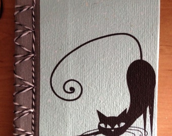 """Recycled paper notebook """"black cat"""""""