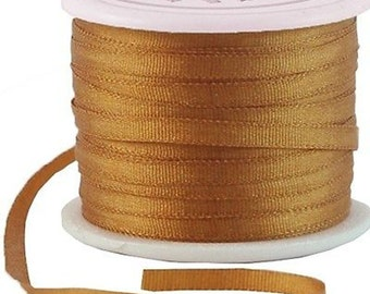 11 Yds (10 M) Embroidery Silk Ribbon 100% Silk 2mm - Golden Tan - By Threadart